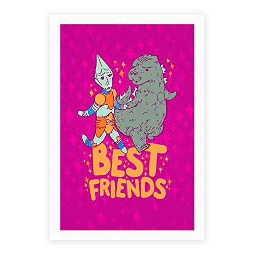 (LookHUMAN Best Friends Jet Jaguar & Godzilla White 11 x 14 Inch Giclee Art Print Poster)