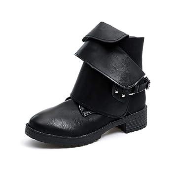 Qiusa Tobillo Botas de Invierno Zapatos de Mujer, Caballo de Montar Medio Tobillo Bloque Alto Plataforma Impermeable Punta de Acero con Cordones Plantillas ...