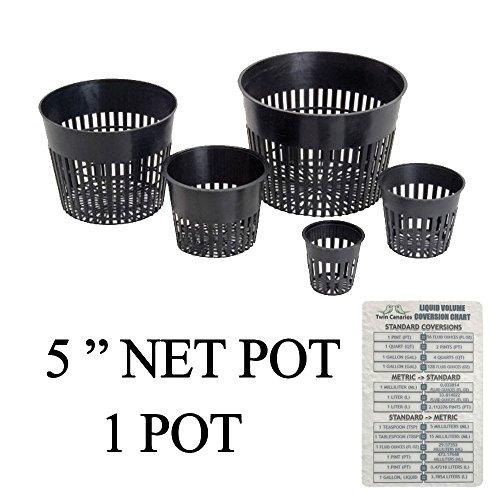 "Hydroponic Net Cup Pots + Twin Canaries Chart - 5"" Net Pot - 1 Pot"