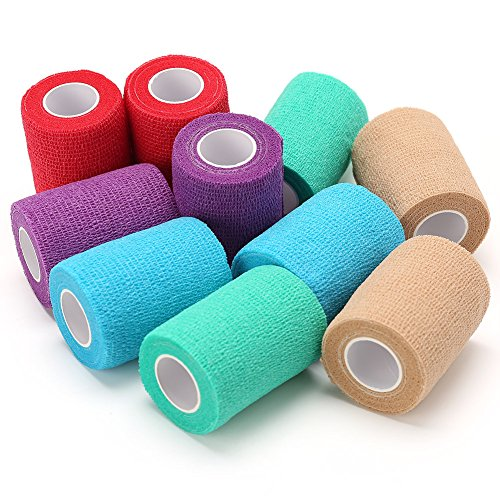 LotFancy Vet Wrap Bandages for Dog Pet Horse Cat Self Adherent Cohesive Tape, 10 Rolls, Assorted Colors, FDA Approved, 3 Inches x 5 Yards by LotFancy