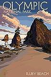 Olympic National Park, Washington - Ruby Beach (12x18 Art Print, Wall Decor Travel Poster)