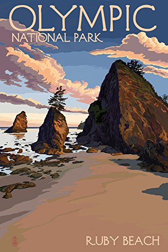Olympic National Park, Washington - Ruby Beach (9x12 Art Print, Wall Decor Travel Poster) from Lantern Press