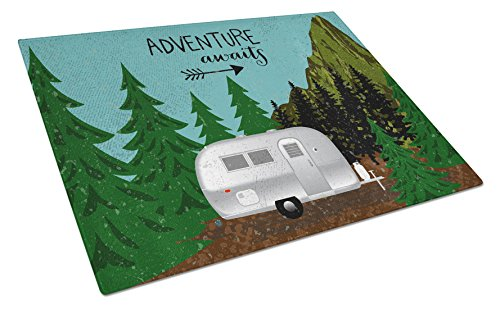 Caroline's Treasures Airstream Camper Adventure Awaits Glass Cutting Board Large, (Caroline Counter)