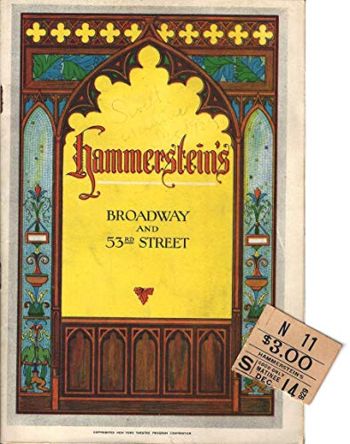 "Helen Morgan""SWEET ADELINE"" Jerome Kern/Oscar Hammerstein 1929 Broadway Playbill with Ticket Stub"
