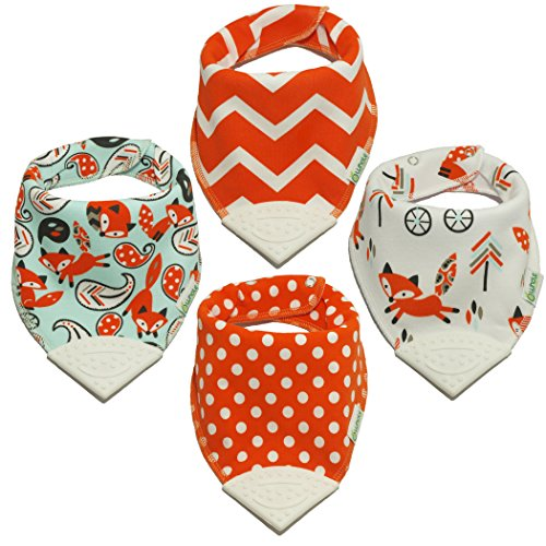 Rock Organic Bib (Whole Family Co. Premium Organic Cotton Baby & Toddler Bandana Bibs with BPA Free Silicone Teether, Soft & Absorbent, For Teething, Drooling & Feeding, Adjustable Size, Great Gift (Foxy Orange))