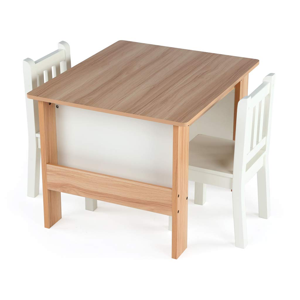 Tot Tutors Journey Wood Table and 2 Chairs Set with Book Storage-Natural/White by Tot Tutors