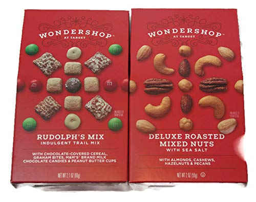 (Variety Pack - Wondershop Holiday Individual Stocking Stuffers - Rudolphs Mix Indulgent Trail Mix 2.1 oz, Deluxe Roasted Mixed Nuts 2 oz)