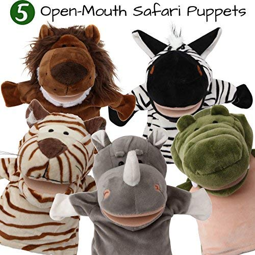 5-Piece Set Animal Hand Puppets with Open Movable Mouth/Zoo, Safari, Farm, Jungle/Tiger, Rhino, Lion, Crocodile and Zebra Big Mouth Animal Puppets