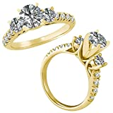 1.00 Carat G-H Round Diamond 3 Three Stone Half Eternity Promise Wedding Bridal Ring 14K Yellow Gold