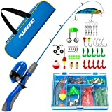 PLUSINNO Kids Fishing Pole,Portable Telescopic Fishing Rod and Reel Full Kits, Spincast Fishing Pole for Kids, Boy, Youth (Blue Handle with Bag, 150CM 59.05IN)
