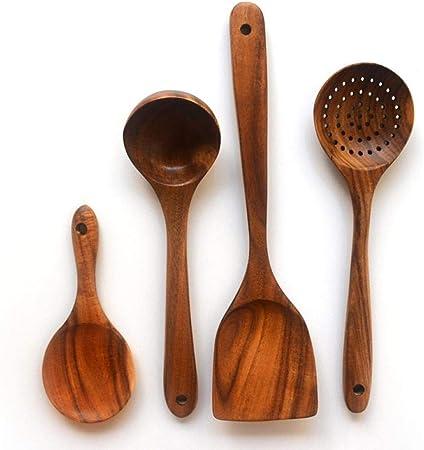 qianqiu Cuchara De Sopa De Madera para El Hogar, Colador De Madera, Juego De Pala para Freír En La Cocina, Juego De 4 Piezas De Madera para Cocina: Amazon.es: Hogar