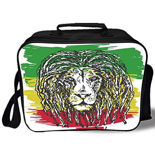 Rasta 3D Print Insulated Lunch Bag,Ethiopian African Culture Hair Style Lion Head Portrait Grunge Backdrop Decorative,for Work/School/Picnic,Green Yellow and Red]()
