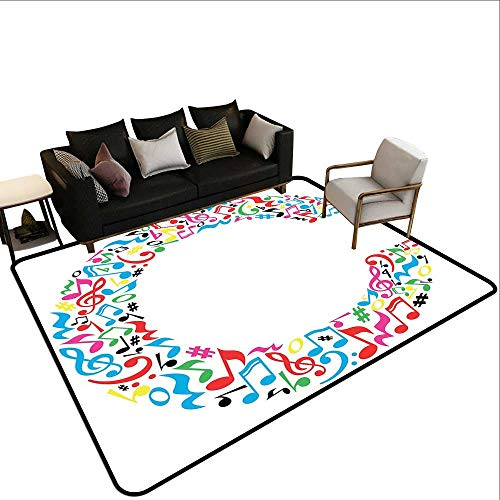 (Custom Pattern Floor mat,Musical Notes Keys Major Minor Notes Vibrant Colored Image with Capital C Letter 6'6