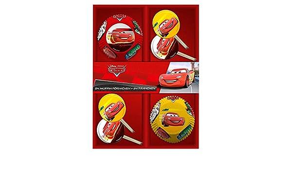 POS 24 Molde Muffins & Banderas | Disney Cars | Decoración | Conjunto Hornear: Amazon.es: Juguetes y juegos