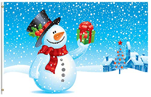ShineSnow Snowman Christmas Snow Gift Winter Happy New Year 3x5 Feet Flag, Polyester Double Stitched with Brass Grommets 3 X 5 Ft Flag for Outdoor Indoor Decor