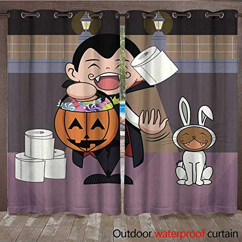 RenteriaDecor 0utdoor Curtains for Patio Waterproof Halloween Trick or Treat W72 x L84 -