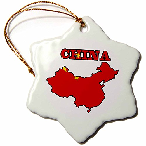 Ornament China Snowflake (3dRose orn_99114_1 Flag of Peoples Republic of China in The Outline Map of China and The Name China.-Snowflake Ornament, Porcelain, 3-Inch)