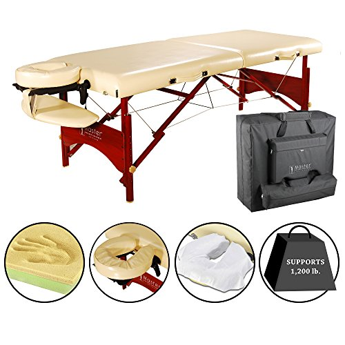 Master Massage Vista Portable Massage Table with Memory Foam Creme Upholstery, 28 Inch