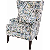 New Pacific Direct 1900078-153 Clementine Wingback Arm Chair Furniture, Mazarine Paisley