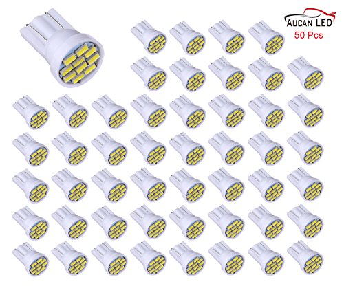 Aucan 12v 50pcs T10 W5W 2825 158 192 168 194 10-SMD 3014 LED Light bulbs Used for Instrument Cluster, Door Courtesy, License Plate Lights, Xenon White (Stock Cluster)