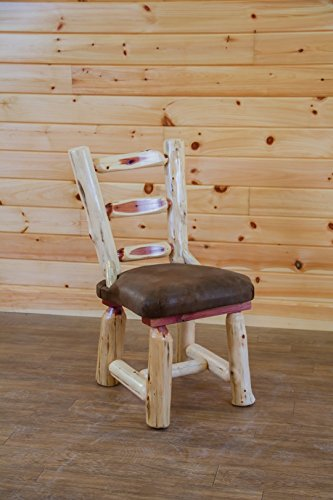 Furniture Dining Room Amish Made - Red Cedar Log Dining Room Chairs with Upholstered Seat - Set of 2 - Amish Made in USA (Leafy Fabric)