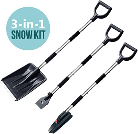 Multifun Snow Shovel with Ice Scraper and Brush