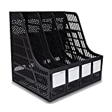 Sayeec Sturdy Desktop Quadruplicate Magazine Plastic Holders Frames File Dividers Document Cabinet Rack Display and Storage Organiser Box Black