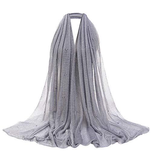Fashion Pearls Glitter Scarf Cotton Cover Head Wrap Pleated Muslim Jewish Scarf Hijab Shawl Wrap (G) ()