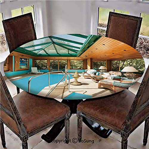 Elastic Edged Polyester Fitted Table Cover,Residential House Large Indoor Pool Furniture Sunrays Leisure Time,Fits up 40