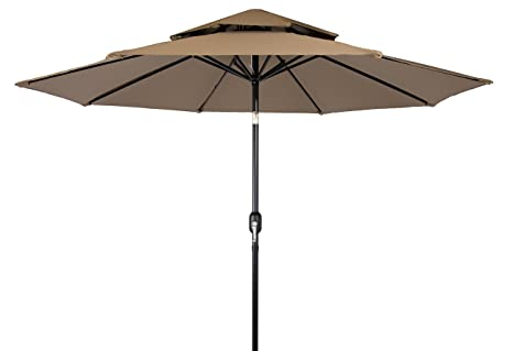 9u0027 Steel Frame 2 Tier Pagoda Style Patio Umbrella By Trademark Innovations  ...