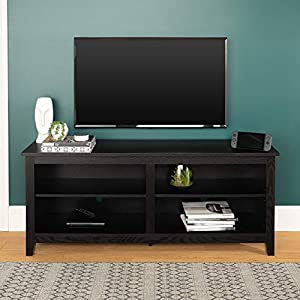 "WE Furniture Minimal Farmhouse Wood Universal Stand for TV's up to 64"" Flat Screen Living Room Storage Shelves Entertainment Center, 58 Inch, Black"