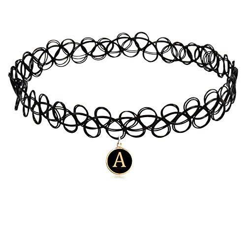 COZYLIFE Black Stretch Gothic Tattoo Henna Magic Choker Necklace with 26 Letter Pendant (A)