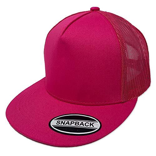 - GREAT CAP Blank Trucker Hat - Classic Flat Bill Visor Baseball with Mesh Snapback for Hot Weather, Summer, Outdoor, Running, Car Driving, Vacation, Fishing, Sport, Daily - Hot Pink