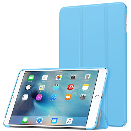 MoKo Case Fit iPad Mini 4 - Slim Lightweight Smart Shell Stand Cover Case with Auto Wake/Sleep Fit Apple iPad Mini 4 (2015 Edition) 7.9 inch iOS Tablet, Light Blue