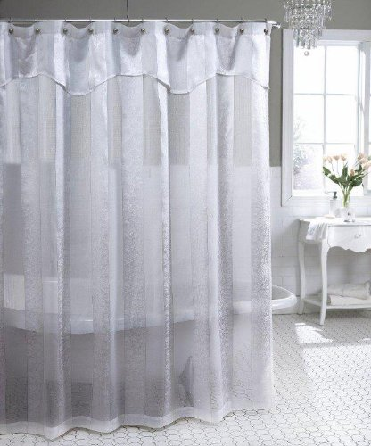 Amazon.com: Park Avenue Semi-Sheer Shower Curtain, Antique Ivory ...