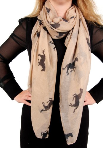 Calonice Amorino Ladies' Scarf Horse Print 100x180cm Khaki Brown Beige Black 21000 (Brown)