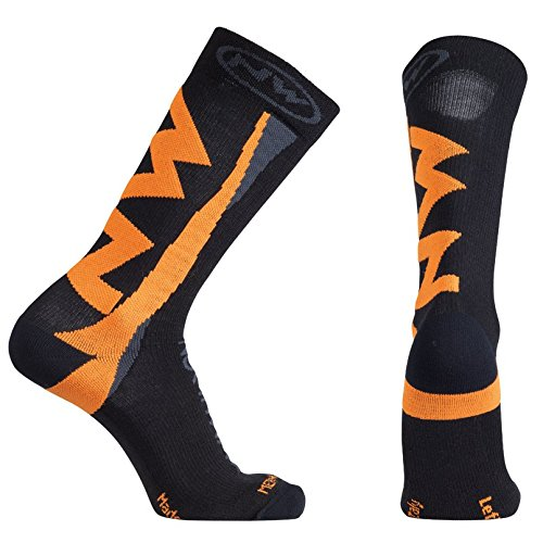 Northwave, Extreme Winter High Sock Black/Orange Fluo. MD by Northwave