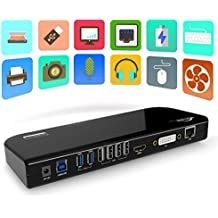 USB 3.0 Universal Docking Station, Dual Video Monitor Display DVI & HDMI & VGA with Gigabit Ethernet, Audio, 6 USB Ports for Laptop, Ultrabook and PCs - Black