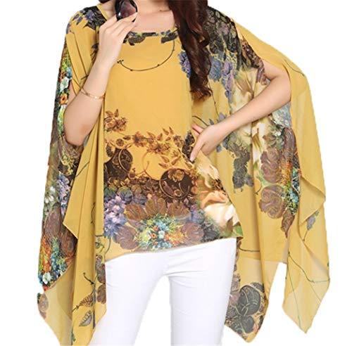 iNewbetter Women's Chiffon Blouse Caftan Poncho Floral Print Batwing Sleeve Boho Tunic Tops One Size Yellow ()