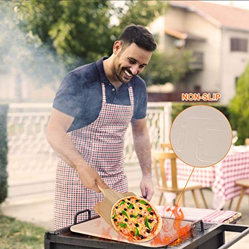 Jesdoo Pizza Stone for Oven and Grill,15 x 12 inch Baking/Grilling Stone with Wooden Pizza Rectangular Plate, Heat-Resistant Cordierite Cooking Stone, for Pizza, Pies, Pastry Bread, Calzone