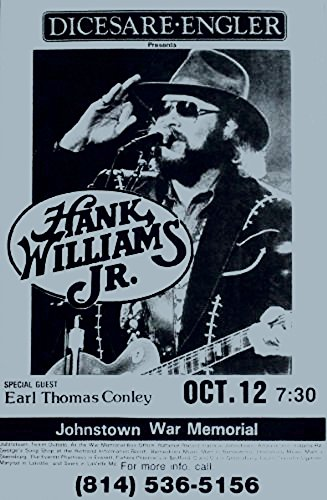 Hank Williams Jr. with Earl Thomas Conley Retro Art Print — Poster Size — Print of Retro Concert Poster — Features Hank Williams and Earl Thomas Conley. -  Innerwallz
