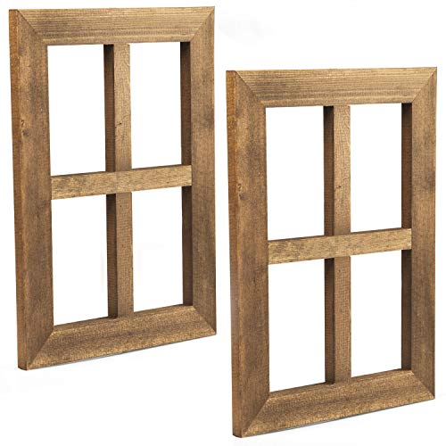 Ilyapa Window Frame Wall Decor 2 Pack - Rustic Wood Window Pane Country Farmhouse Decorations (Wood Window Frame)