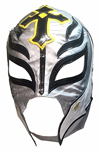 Main Street 24/7 WWE Licensed Rey Mysterio Youths Kid Size Silver With Black Trim Leather Pro Grade Mask by Main Street 24/7