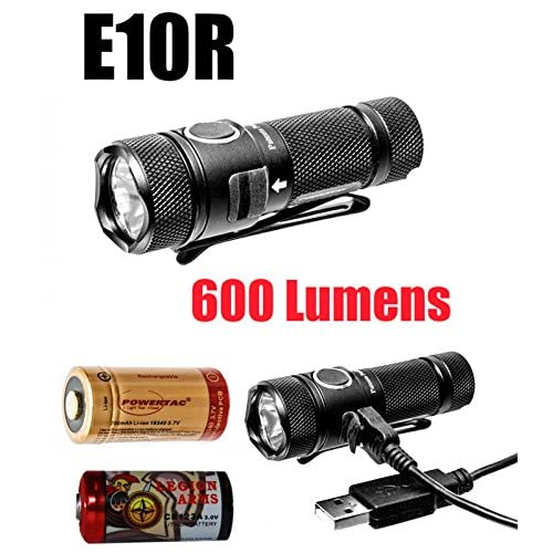 Powertac E10R 600 Lumen E10 Rechargeable LED Flashlight with magnetized tail cap, 700mAh RCR123A, USB charging cord and LegionArms CR123 bac-kup Battery (E10R with two RCR123A)