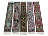 Set of 5 Beautiful Rug Bookmarks Woven Carpet Book Mark Oriental Style Colorful Design (Set-5-3)