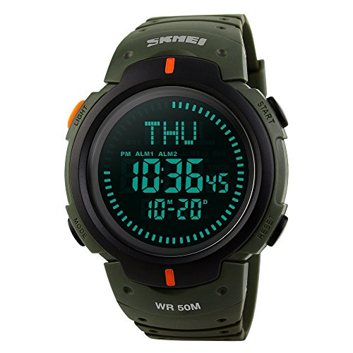TONSHEN Mens Compass Sport Watch Waterproof LED Digital Outdoor 50M Water Resistant World Time Three Alarm Military 12H/24H Countdown Plastic Watch with Rubber Strap for Running Travel Expedition -  176-1231Green