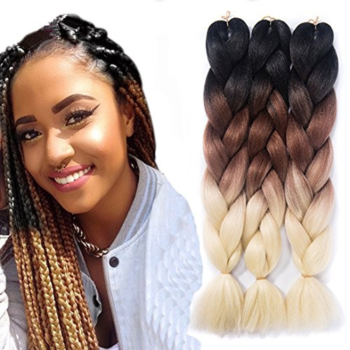 Amecire 24 '' 3 Tone Ombre Jumbo Braid Hair Extension 5 Pcs/Lot 100g/pc Twist Braiding Hair Synthetic Hair Extensions ( Black to Brown to Blonde )