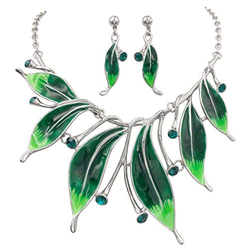 Gypsy Jewels Feather Leaves Statement Short Necklace & Earrings Set (Green Tones)