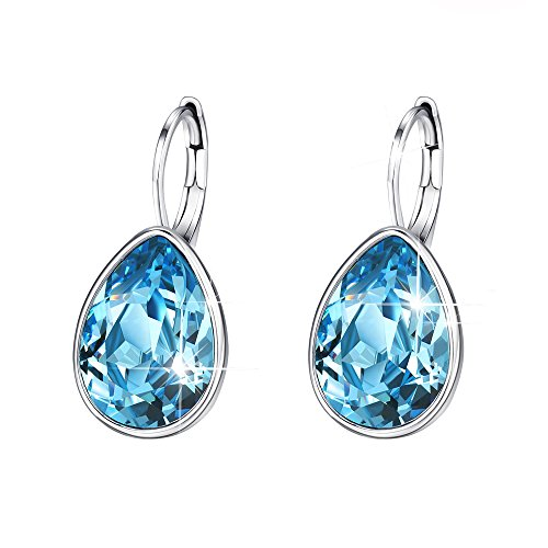 Xuping Halloween Gifts Women Girl Decorate Hoop Earrings Beauty Elegant Water Drop Crystals from Swarovski Luxury Jewelry(Blue Lake)