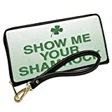 Wallet Clutch Show Me Your Shamrocks St. Patrick's Day Clover Fade with Removable Wristlet Strap Neonblond